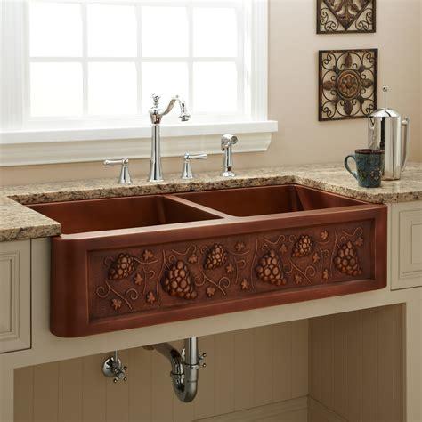 copper farmhouse kitchen sinks 36 quot vine design bowl copper farmhouse sink kitchen 5787