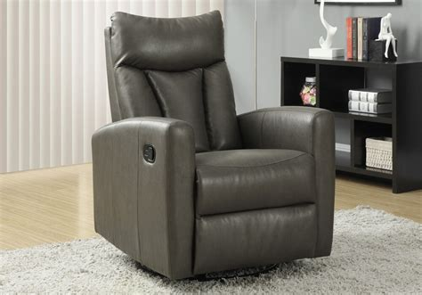 Poltrone Recliner Ebay : Monarch Charcoal Grey Bonded Leather Swivel Glider