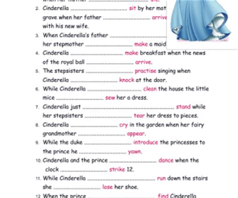 cinderellas story  simple  continuous worksheet