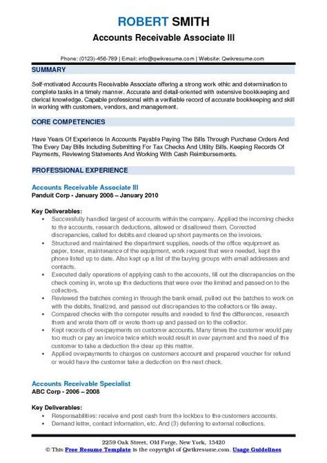 Ar Resume by Accounts Receivable Associate Resume Sles Qwikresume