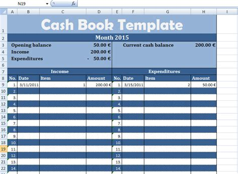 cash book template  business microsoft excel