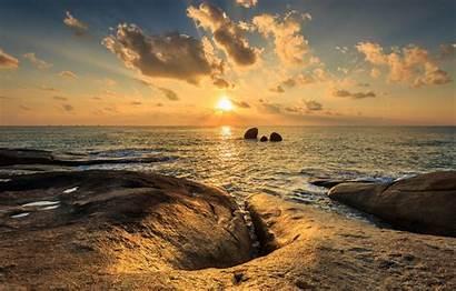 Beach Sunset Sea Sky Seascape Rocks Summer