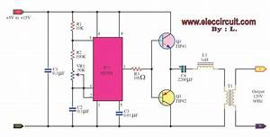 Dc To Ac Inverter By Ic 555 And Tip41 Tip42 Circuit