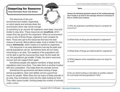 competing for resources 3rd grade reading comprehension worksheet