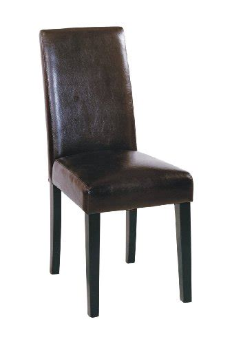 armen living high back leather dining chair brown leather