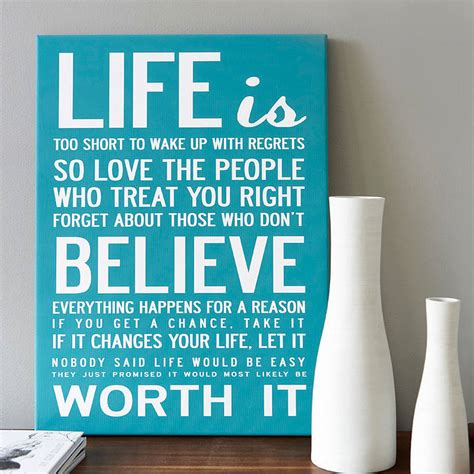 life   short quote print  canvas   love design