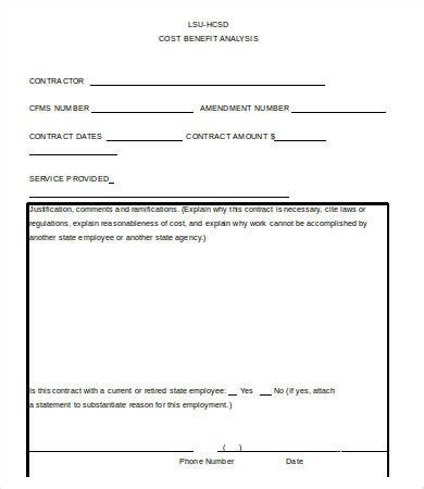 sample cost benefit analysis templates word