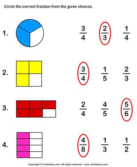 circle fraction representing shaded portion worksheet