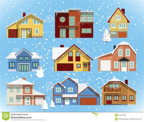 Snow Covered City Houses Royalty Free Stock Images - Image