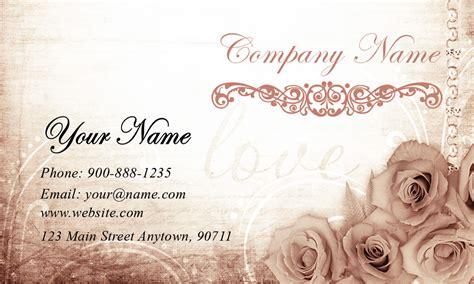 vintage roses wedding planner business card design