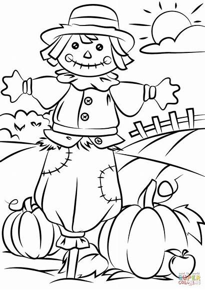 Coloring Autumn Pages Scene Scarecrow Printable Drawing