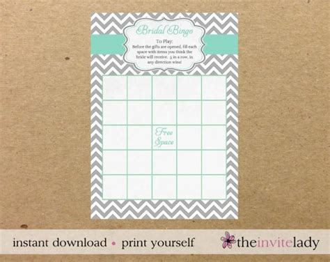 bridal shower bingo downloable game card stripes of love