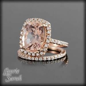 rose gold morganite engagement ring set with prong set With morganite wedding ring sets