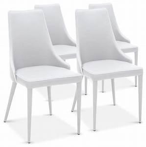 Chaise De Salle à Manger Design : lot de 4 chaises drogo blanches design contemporain chaise de salle manger par inside75 ~ Teatrodelosmanantiales.com Idées de Décoration