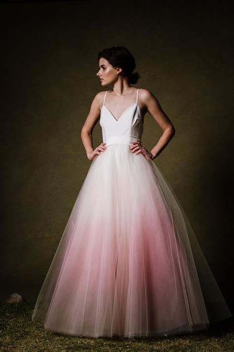 Ombre Dip Dyed Tulle Ballgown Wedding Dress By