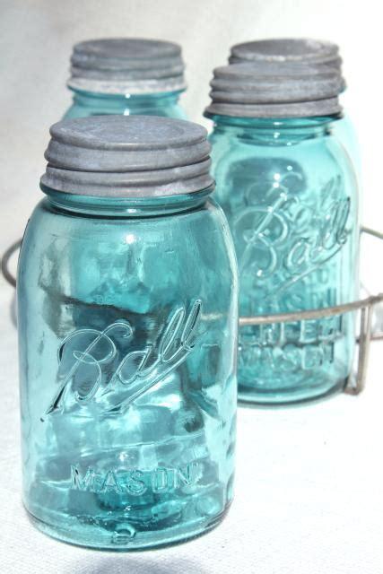 vintage aqua blue glass canning jars   wire rack ball mason jars  zinc lids