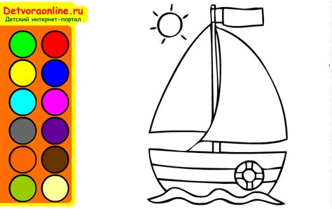 Sailboat Color by Coloring Free Kidonlinegame