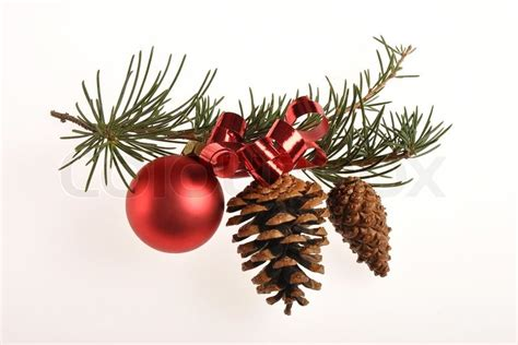 christmas decoration  pine branch red glass ball