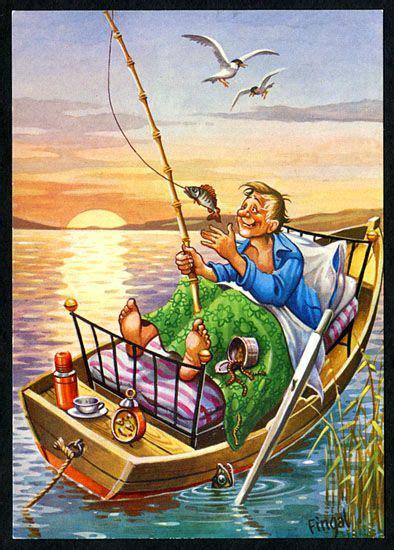 fishing cartoons images  pinterest funny