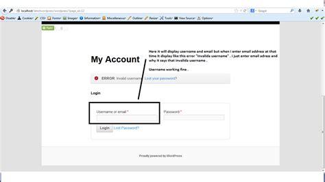php wordpress login  working  email address