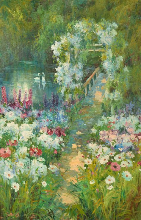 Who Sang Garden by Sang Flower Garden W Pond Swans Painting