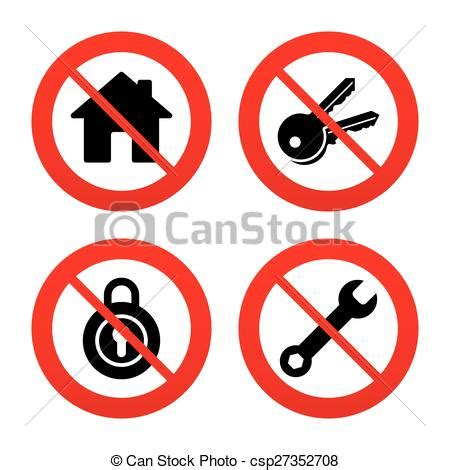 No, ban or stop signs. home key icon. wrench service tool ...