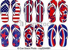 American flag flip flops Set of fun flip flops with