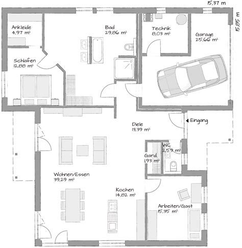 Bungalow Garage Grundrisse by Winkelbungalow Mit Garage Grundrisse Wohndesign Ideen