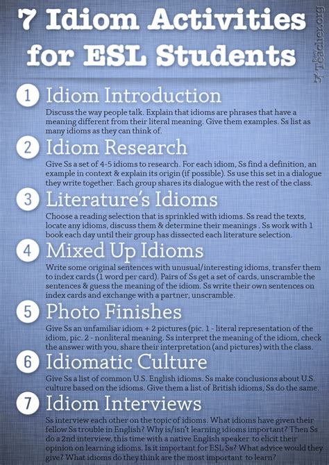 idiom activities  esl students poster