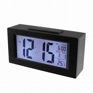 Delicate Black Cuboid LED Alarm Clock