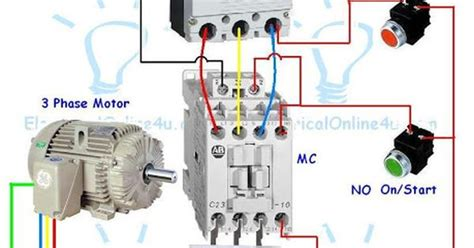 contactor wiring guide for 3 phase motor with circuit breaker relay nc no switches
