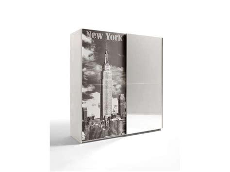 achat armoire 2 portes coulissantes dont 1 miroir 180 cm mg ny coloris blanc conforama