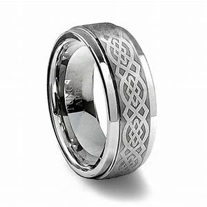 Brushed tungsten carbide celtic ring tungsten affinity for Tungsten celtic wedding ring