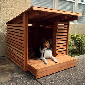 hand made redwood dog house by strong wood studio With custom made dog houses