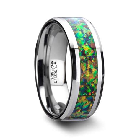 blue orange opal inlay men s wedding ring in tungsten