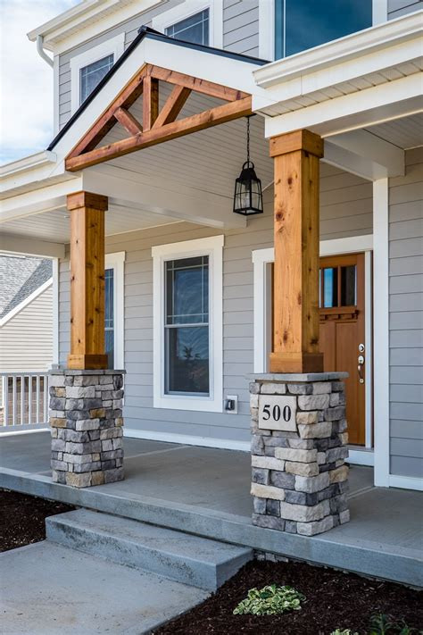 Gorgeous Front Porch! Wood And Stone Columns!  Home