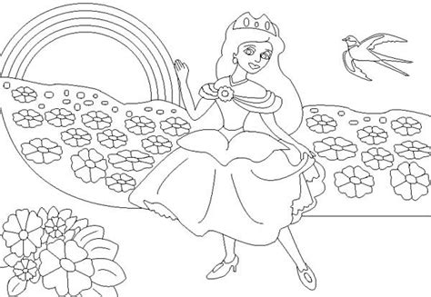 princess   rainbow coloring page  print  coloring pages