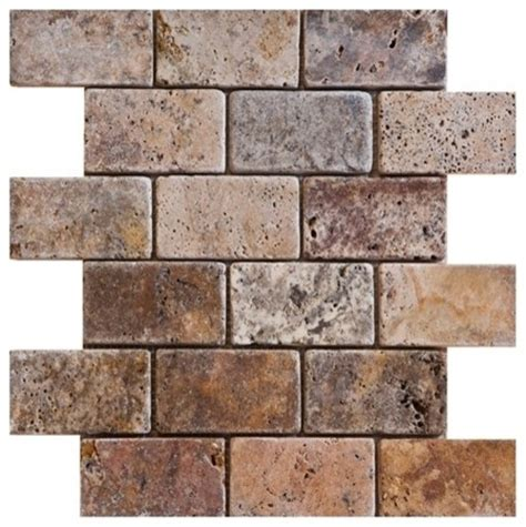 2 quot x 4 quot scabos tumbled mesh mounted travertine mosaic tiles