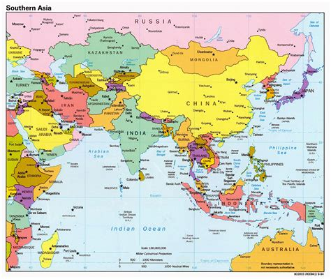 detailed political map  southern asia  capitals