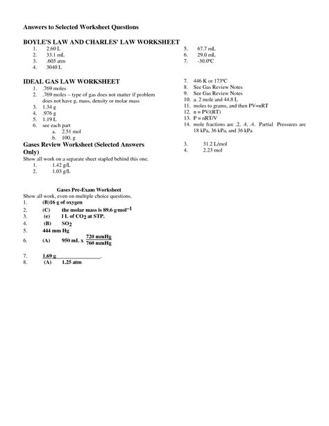 boyle s law worksheet answers 15 best images of charles worksheet with answers ideal gas worksheet answers charles