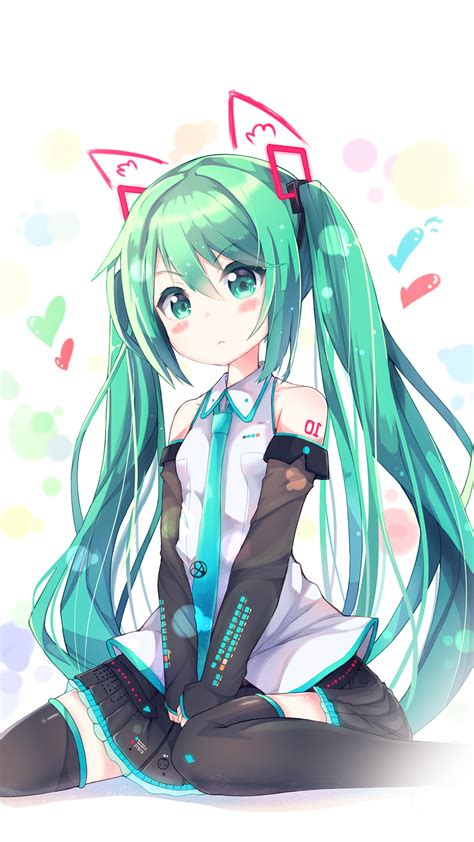 hatsune milk anime girl illustration art android wallpaper