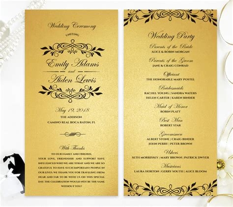 Gold Wedding Programs - LemonWedding