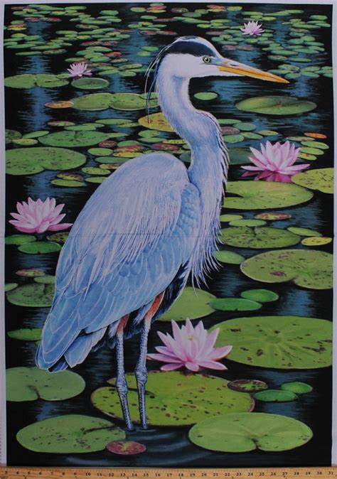 panel blue heron bird water lilies lily pads