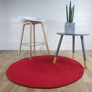Tapis Rond Rouge : tapis rond sur mesure rouge fin ~ Teatrodelosmanantiales.com Idées de Décoration