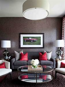 contemporary, gray, living, room, with, red, accents