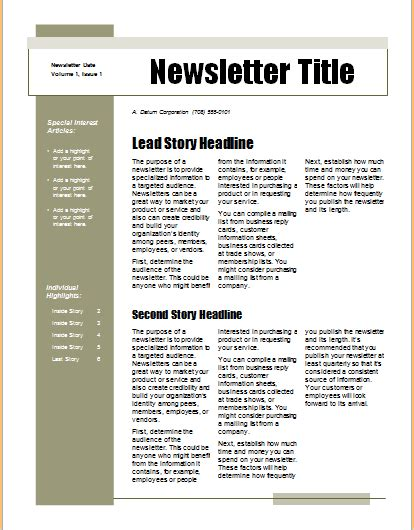 simple newsletter template 15 editable newsletter templates for ms word document hub