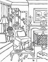 Coloring Pages Living Room Inside Interior Adult Rooms Adults Victorian Printable Barbie Drawings Books Colouring Houses Landscapes Print Getcolorings Christmas sketch template