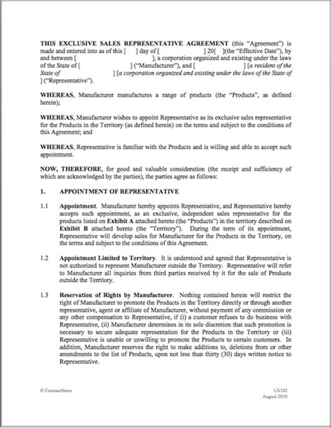 Manufacturers Rep Agreement Template by Representation Agreement Template 28 Images Listing