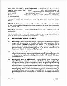9 best images of manufacturer rep agreement template With sales rep contract template