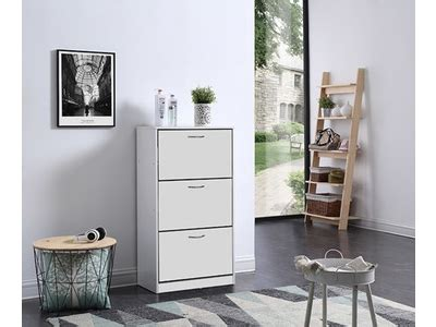 basika bureau meuble a chaussure 3 abattants bolero blanc